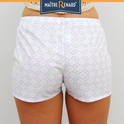 Caleçon femme motifs chats bleus short femme popeline de coton