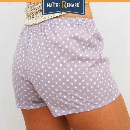 Caleçon femme motifs étoiles blanches fond gris short femme popeline de coton