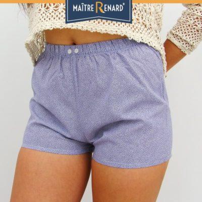 Caleçons femme pétales blancs sur fond bleu en voile de coton
