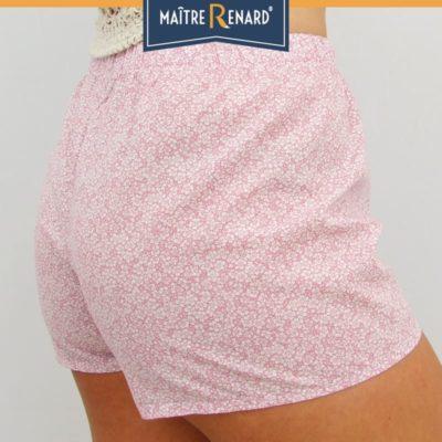 Caleçon femme short femme fleurs roses vintage 100% voile de coton