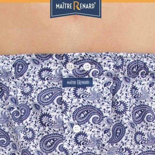 Caleçon homme coupe française motif cachemire bleu marine 100% popeline de coton
