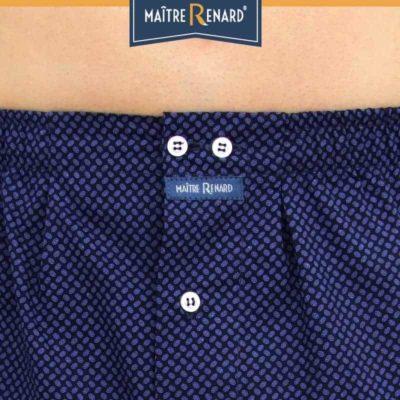 Caleçon homme coupe française classique motifs ovales sur fond bleu 100% popeline de coton
