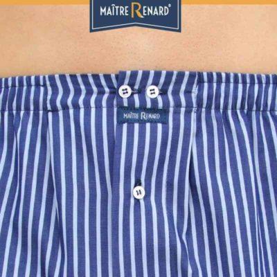 Caleçon homme coupe française classique rayé ciel fond bleu marine 100% popeline de coton