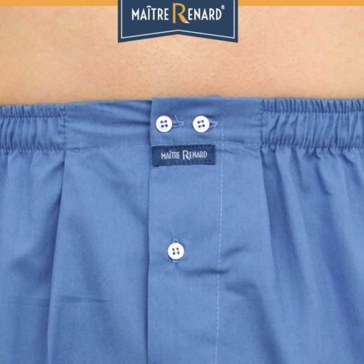 Caleçon homme coupe française classique bleu jeans uni 100% popeline de coton
