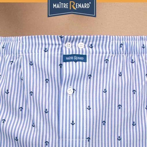 Caleçon homme rayé bleu/blanc avec motif ancres marine coupe française 100% coton