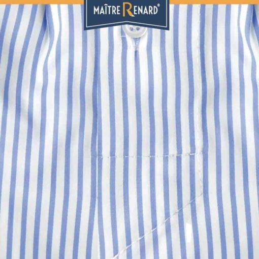 Caleçon homme coupe française classique motifs rayé bleu et blanc 100% coton