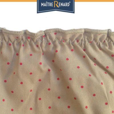 Culotte bouffante en voile de coton 100% coton motifs pois fuchsia fond beige