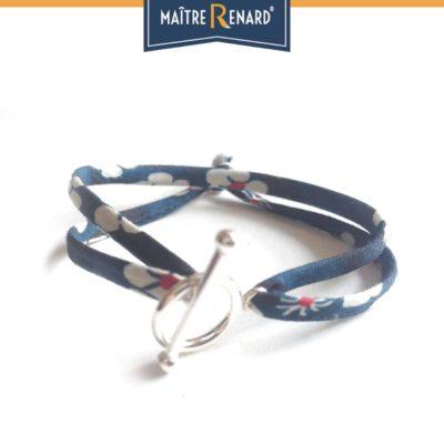 Bracelet Liberty bleu nuit fermoir en T argent 925