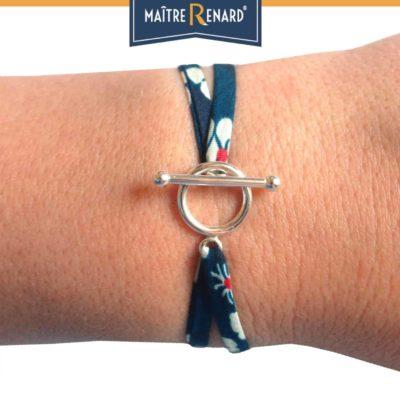 Bracelet Liberty bleu nuit fermoir en T argent