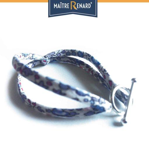 Bracelet Liberty Bleu pastel fermoir en T argent