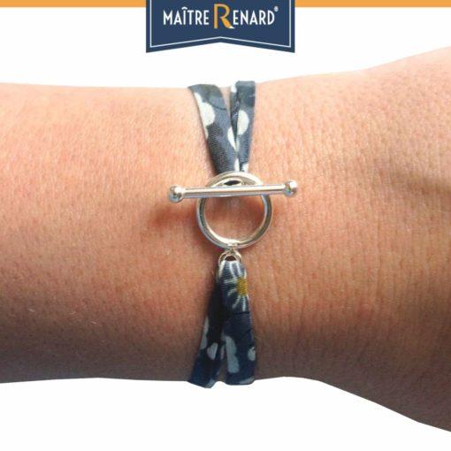 Bracelet en tissu Liberty gris mauve fermoir en T argent