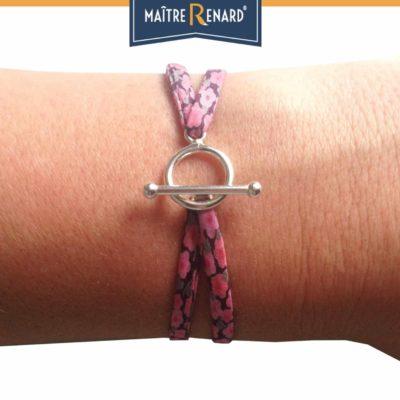 Bracelet en tissu Liberty fuchsia pastel fermoir en T argent 925