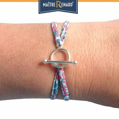 Bracelet en tissu Liberty rose pastel fermoir en T argent 925