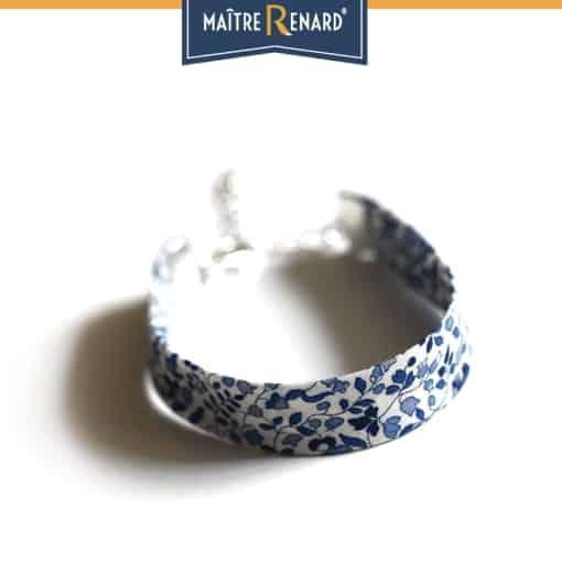 Bracelet Liberty bleu fermoir à griffes argentées