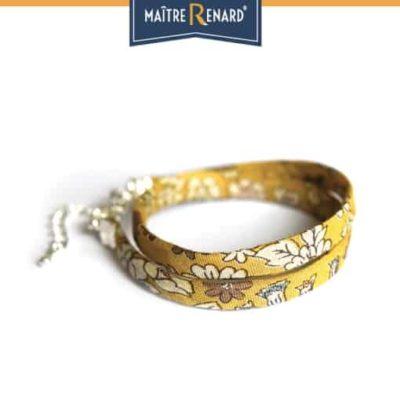Bracelet Liberty double tour jaune à griffes argenté