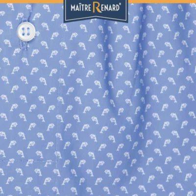 Caleçon homme classique coupe française motifs dauphin fond bleu 100% popeline de coton