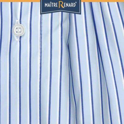 Caleçon homme classique coupe française motifs rayé large bleu 100% popeline de coton