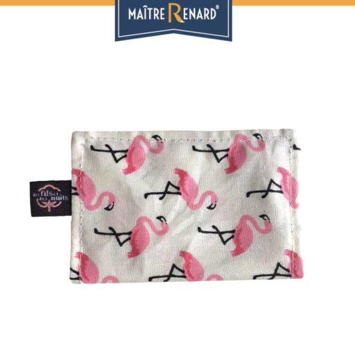 Porte cartes en coton enduit Flamants roses