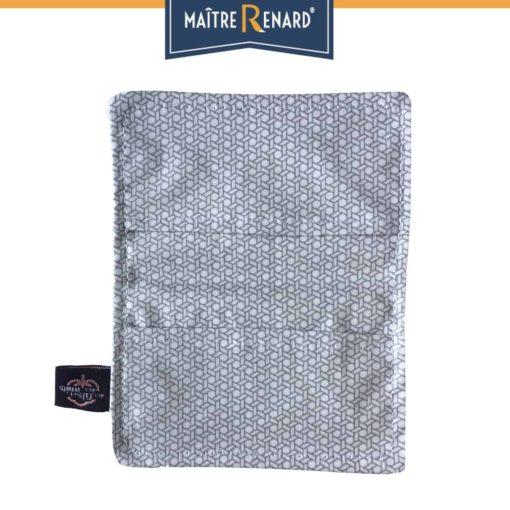 Porte cartes en coton enduit Géométrique gris vintage