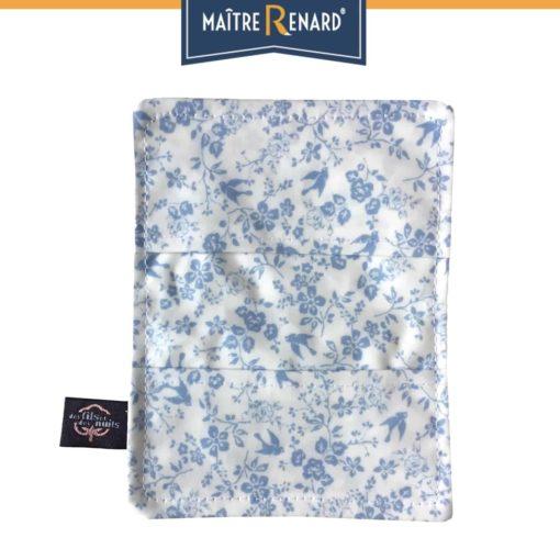Porte cartes en coton enduit Hirondelles bleues