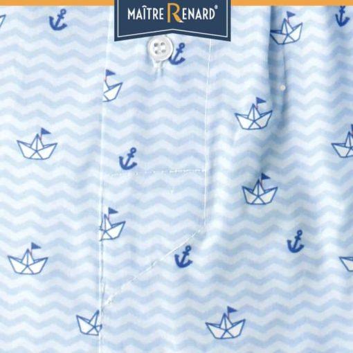 Caleçon enfant coupe française en popeline de coton motifs bateaux en papier classique