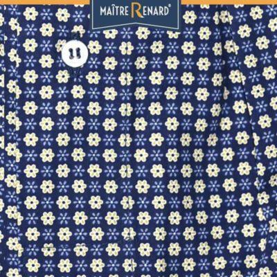 Caleçon homme coupe française classique motifs fleurs fond marine 100% coton