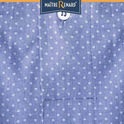 Caleçon homme coupe française classique motifs pois fond bleu 100% coton