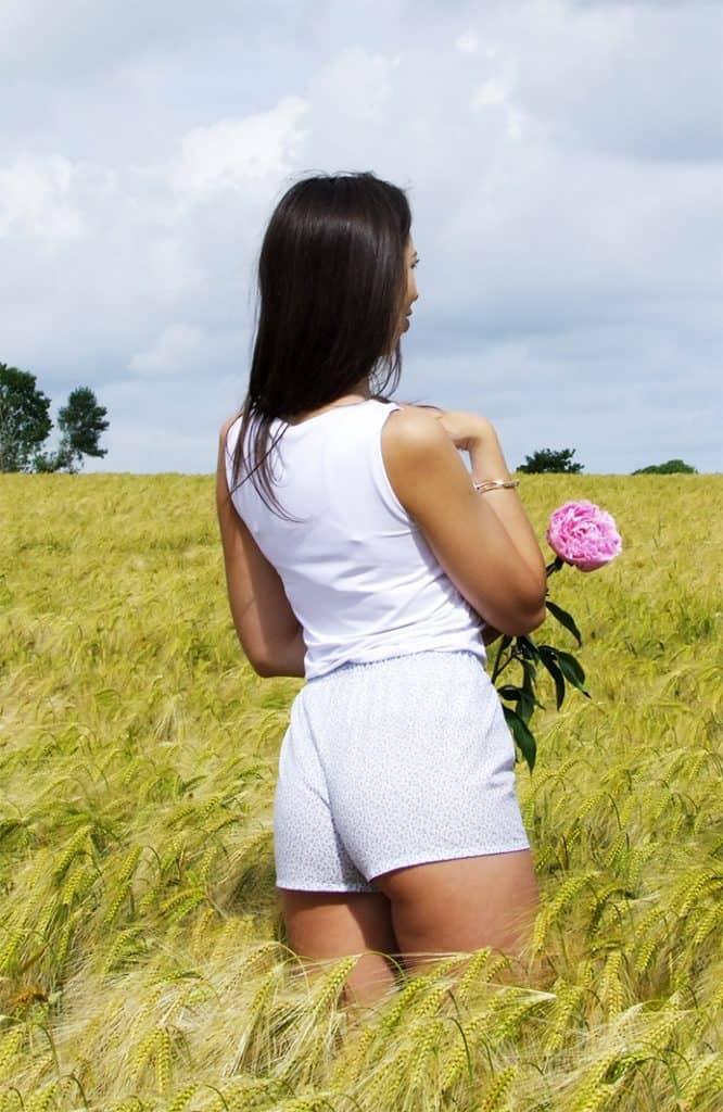caleçon femme fleurs bleues voile de coton