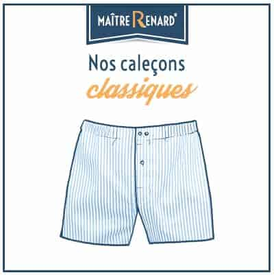 Caleçons classique homme coupe française, sans couture 100% coton popeline