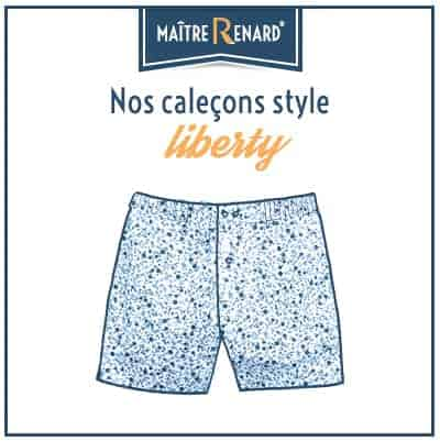 Caleçons liberty et caleçons à fleurs homme classique coupe française 100% coton sans couture.