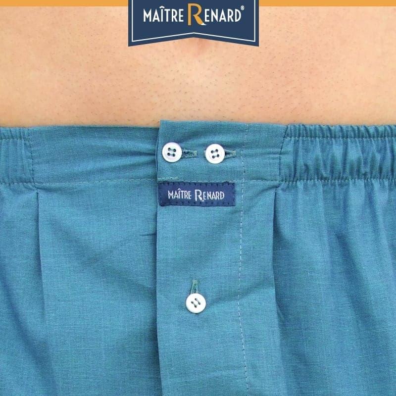 Caleçon homme coupe française classique bleu turquoise uni 100% fils à fils coton