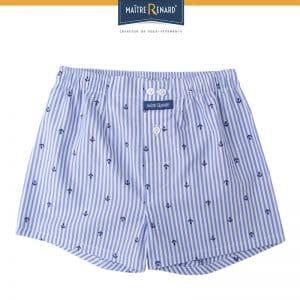 caleçon enfant classique 100% coton popeline, coupe française, motifs ancres marine rayé bleu blanc