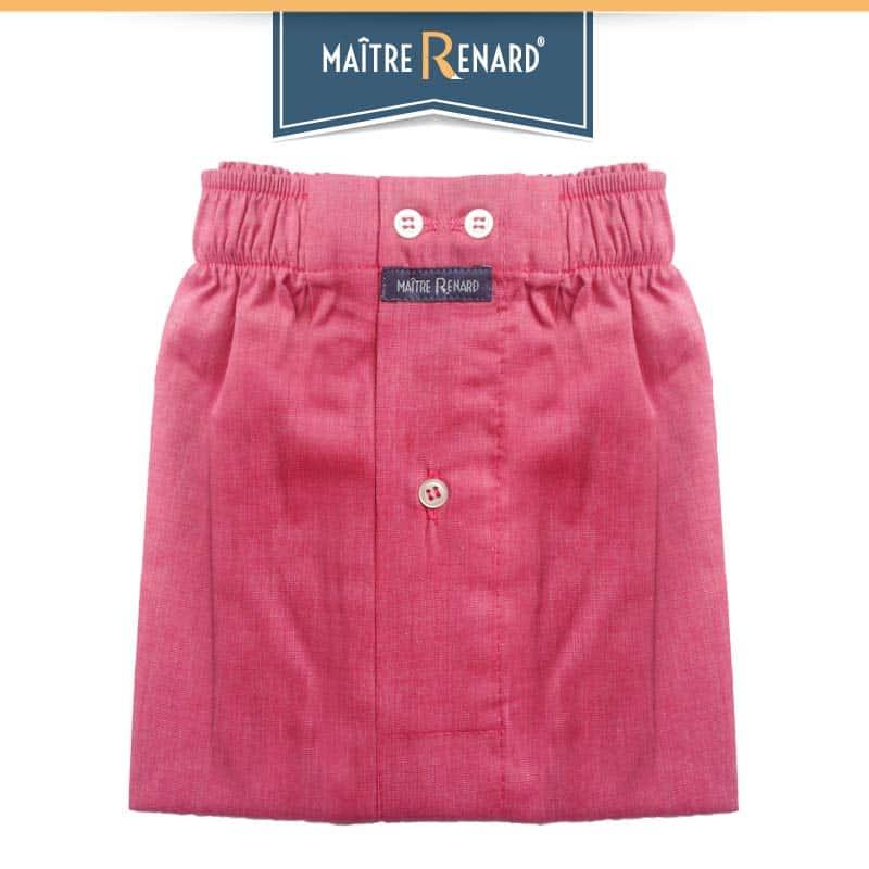 Caleçon homme classique coupe française 100% fil à fil coton Uni rose Framboise