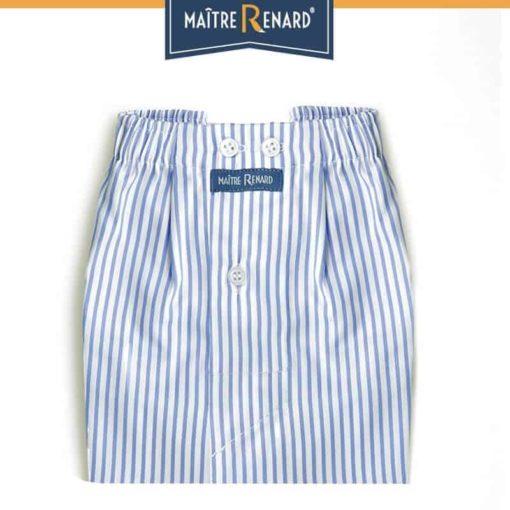 Caleçon homme classique coupe française classique motifs rayé bleu et blanc 100% coton