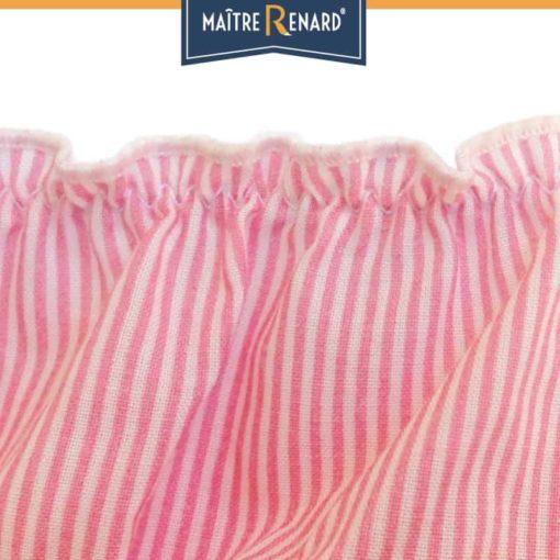 Culotte bouffante en voile de coton 100% coton motifs rayures roses