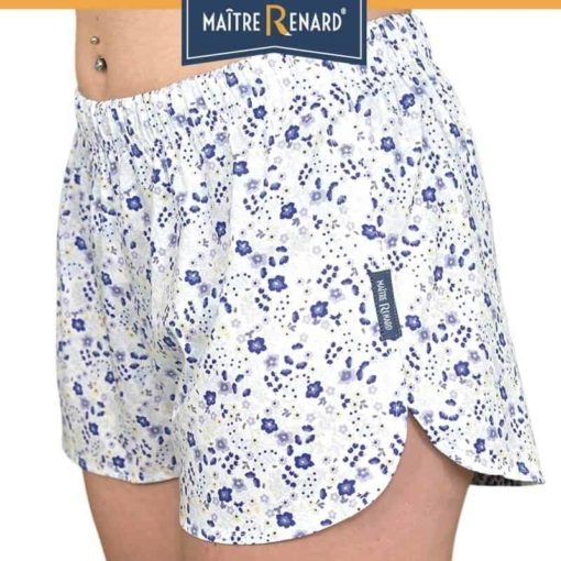 caleçon femme short femme imprimé fleurs bleues vérone popeline de coton liberty