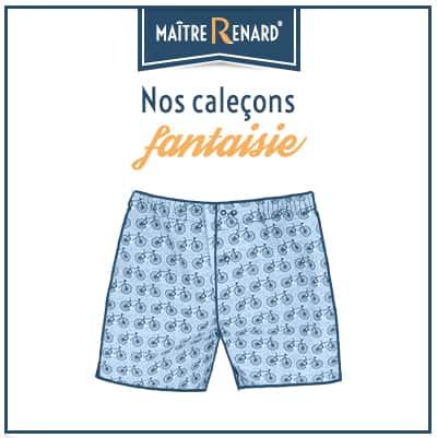 Caleçons fantaisie homme coupe française sans couture 100% coton