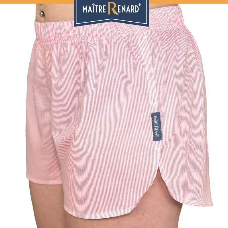 caleçon femme short femme rayé rose blush voile de coton