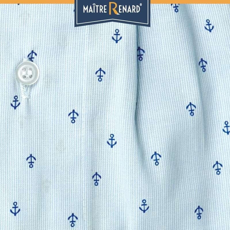 Caleçon homme classique coupe française motifs ancres marines fond bleu 100% popeline de coton