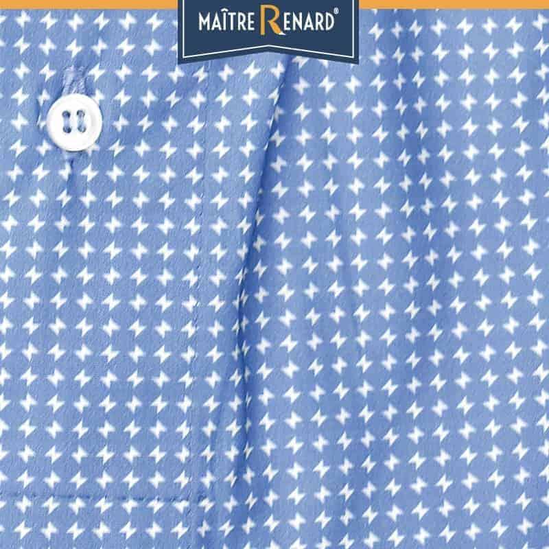 Caleçon homme classique coupe française géométrique bleu 100% popeline de coton