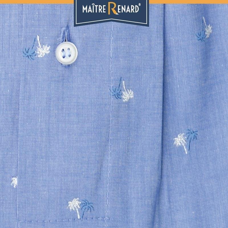 Caleçon homme classique coupe française motifs palmiers fond bleu 100% fil à fil de coton