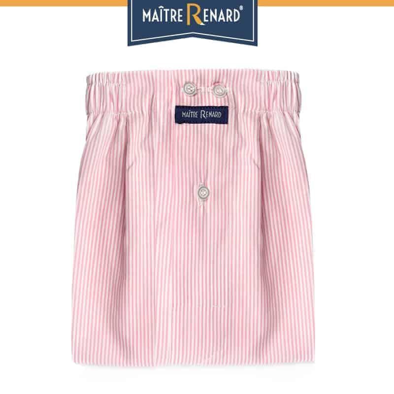 Caleçon homme classique coupe française motifs rayé rose 100% popeline de coton