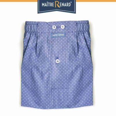 Caleçon homme classique coupe française motifs pois fond bleu 100% coton