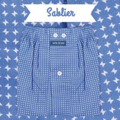 Caleçon homme classique coupe française motif sabliers fond bleu jeans