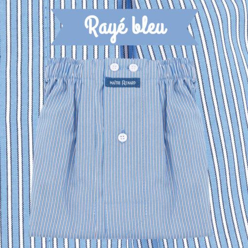 Caleçons homme classique coupe française rayé bleu 100% Coton rayé bleu popeline