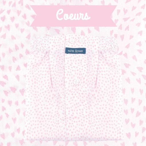 Caleçon homme classique coupe française 100% coton popeline motifs coeurs rose