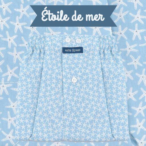 Caleçon homme classique coupe française 100% coton popeline motifs étoiles de mer