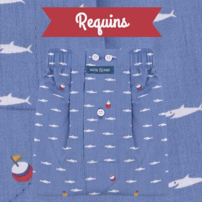 Caleçons homme classique coupe française rayé bleu 100% Coton motifs requins popeline