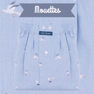Caleçons homme classique coupe française rayé bleu 100% Coton motifs mouettes popeline