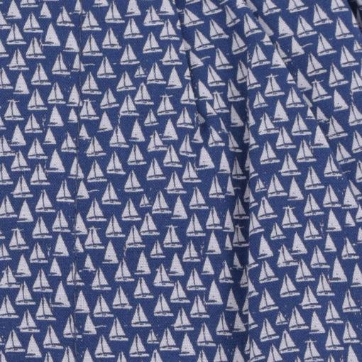 Caleçons homme classique coupe française rayé bleu 100% Coton motifs voiliers popeline